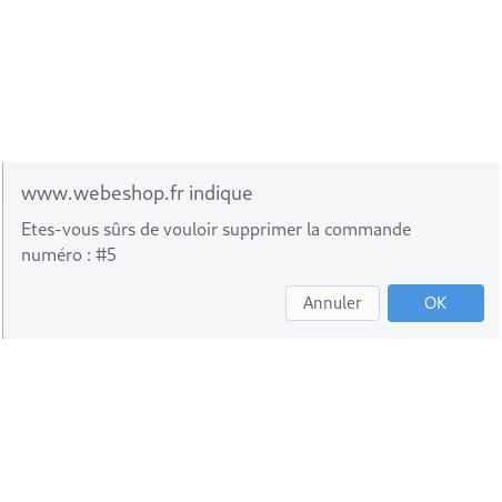 Demande de confirmation de suppression de la commande