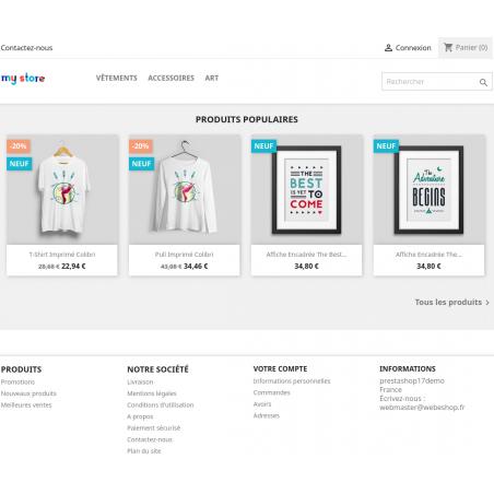 La homepage de votre boutique Prestashop